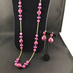 Vintage purple and pink bead necklace and earrings